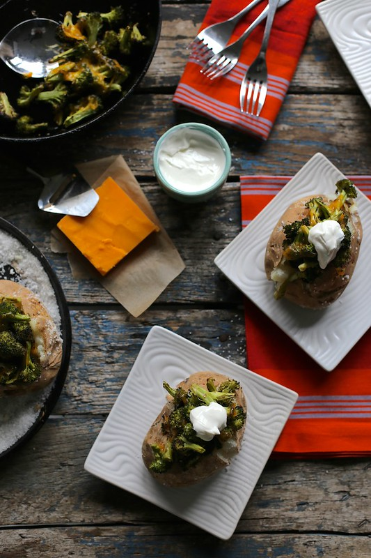roasted broccoli and cheddar baked potatoes