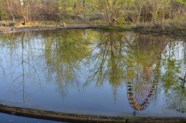 Spreepark Berlin Kulturpark Plaenterwald_abandoned amusement park_ferris wheel pond reflection