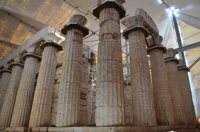 The Temple of Apollo Epikourios at Bassae, south-east corner and Opisthodomos, Arcadia, Greece
