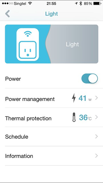 mydlink Home iOS App - Light Information