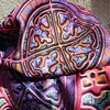MANDALA TILES CHECK PINK ORANGE on Minky closeup 2 by paysmage