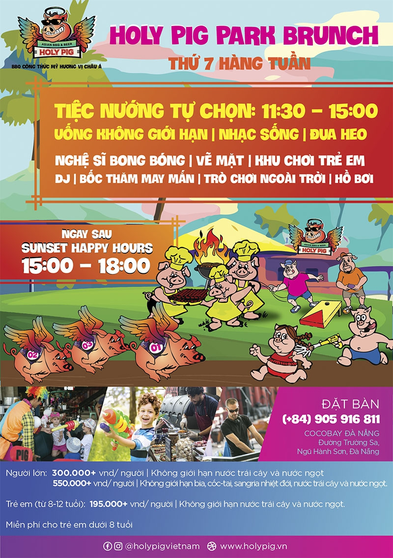 Ăn thỏa thuê, chơi thỏa thích cùng HOLY PIG PARK BRUNCH tại Holy Pig, CocoBay Đà Nẵng