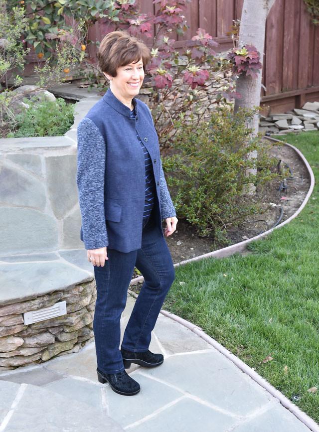 blue jacket unbuttoned