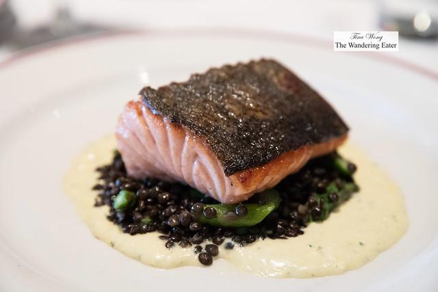 Seared Maine Salmon, Beluga Lentils, Asparagus, Sauce Gribiche