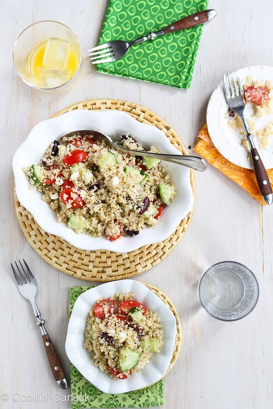 Quinoa Greek Salad Recipe with Tomatoes, Cucumber & Feta | cookincanuck.com #recipe #quinoa