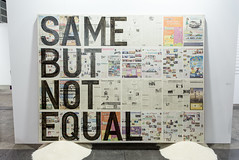 Mixed media installation by Rirkrit Tiravanija (b. 1961): Untitled (same but not equal), 2013 (Newspaper on Linen, Rice) / 沪申画廊 Shanghai Gallery of Art / Art Basel Hong Kong 2013 / SML.20130523.6D.14129
