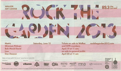 06/15/13 Rock The Garden 2013 @ Walker Art Center, Minneapolis, MN (Ad2 - Bands Listed)