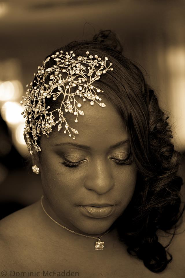 bridal face framer, Swarovski crystal statement headpiece, face-framing bridal hair accessory