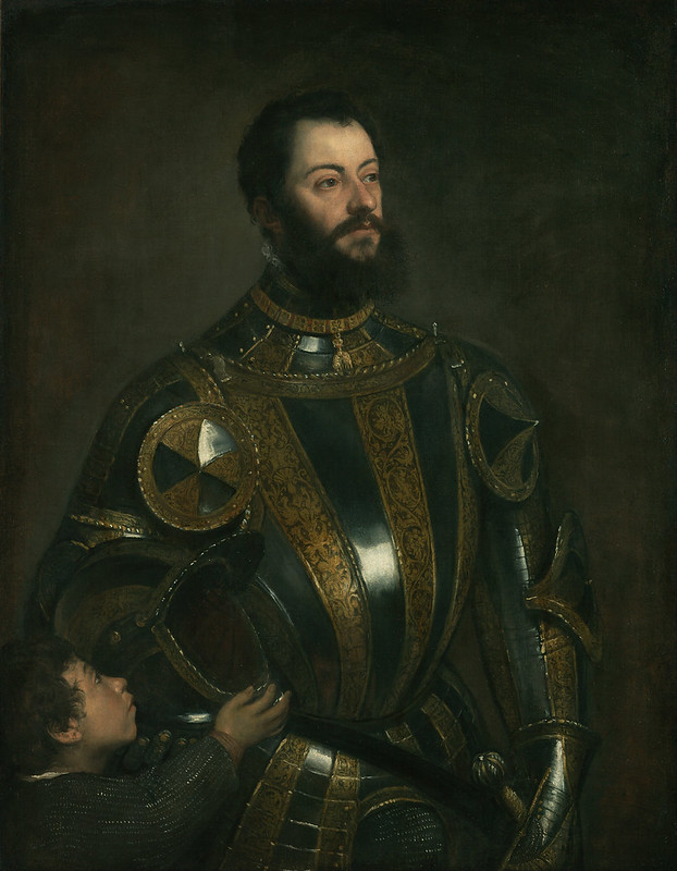 Portrait of Alfonso d'Avalos, Marquis of Vasto, in Armor with a Page