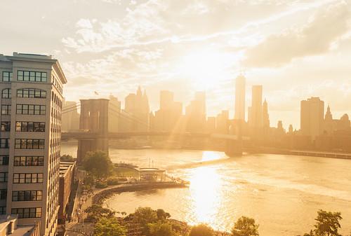 Brooklyn Bridge and New York City Skyline - Summer Sunset