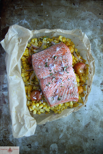 Parchment baked Salmon with corn and tomatoes