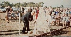 Mr Wesley Johnson places a time capsule in the cairn on the site of the Shannon Methodist Church on April 19th 1977