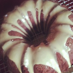 Voila! Kahlua-glazed Mexican Chocolate Poundcake. Tasting to commence shortly.