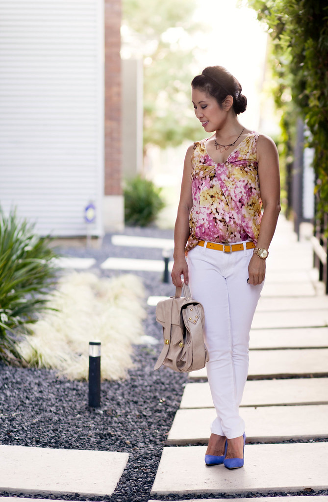 pink floral tank, white jeans, yellow belt, blue suede solemint bess pumps, outfit, style inspiration | cuteandlittle.com