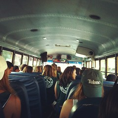 on the bus to the first football game #tuww13 #tulanefootball