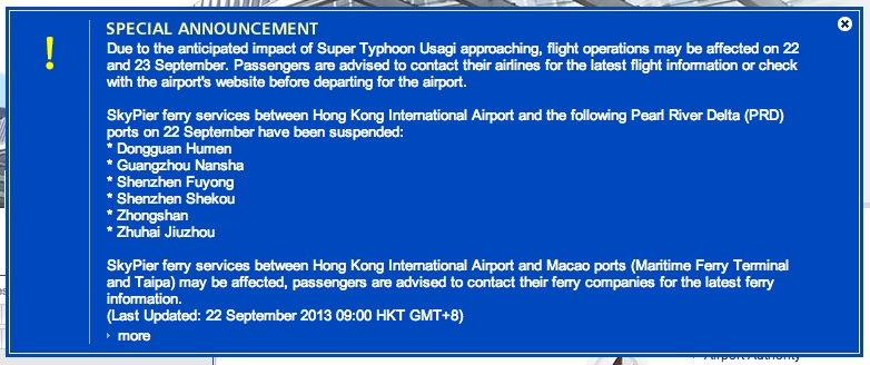 Hong Kong International Airport Usagi Announcement