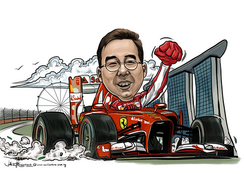 digital caricature on F1 Ferrari