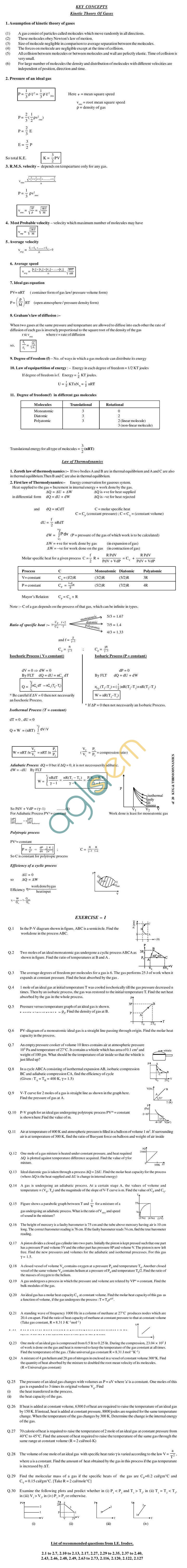 Physics Study Material - KTG & Thermodynamics