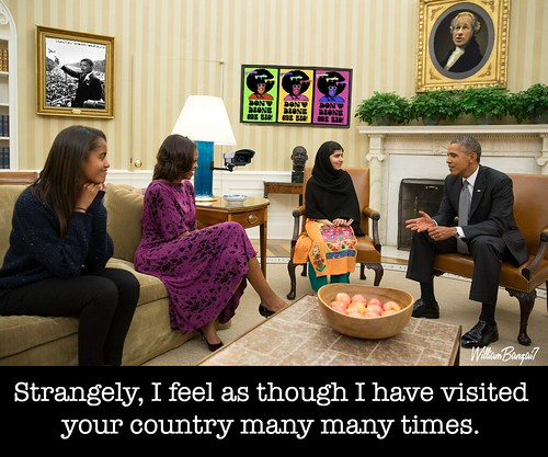 MALALA VISITS THE WHITEHOUSE by WilliamBanzai7/Colonel Flick