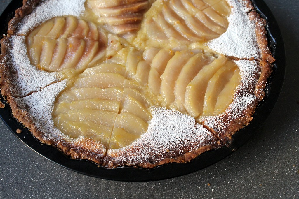 french pear frangipane tart