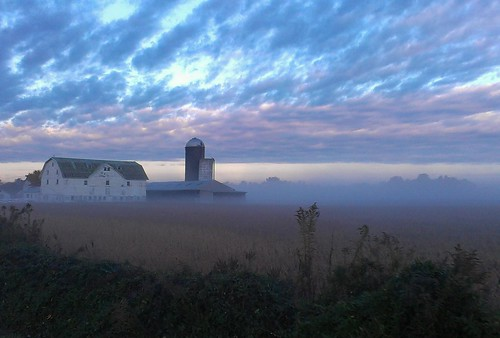 autumn mist fall field grass bike fog clouds barn sunrise landscape big ride farm country silo amish delaware dover flickrandroidapp:filter=none