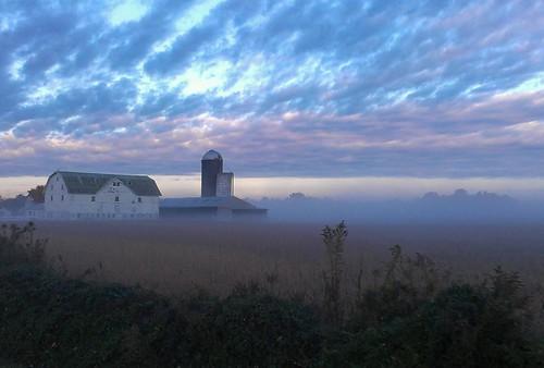 autumn mist fall field grass bike fog clouds barn sunrise landscape big ride farm country silo amish delaware dover flickrandroidapp:filter=none
