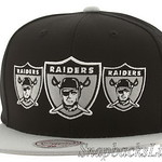 Mitchell Ness Raiders Snapback Hats Triple Stack Logo Oakland Caps NFL Adjustable Black