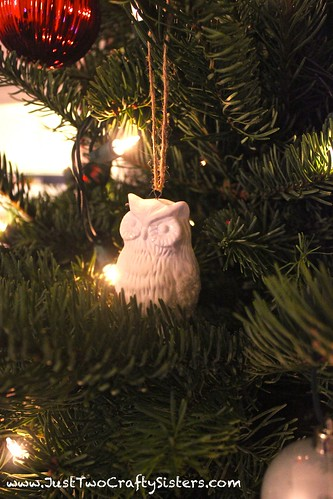 Ceramic owl christmas ornament