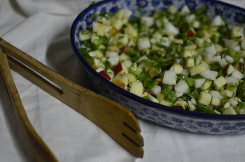 Apples, cucumbers and green pepper salad with cilantro