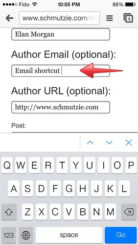 shortcuts for commenting on blogs on iPhone