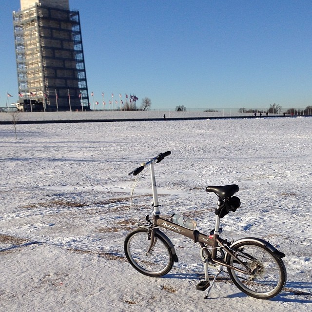 From the beach to the frozen tundra, the foldy bike rolls on #bikedc