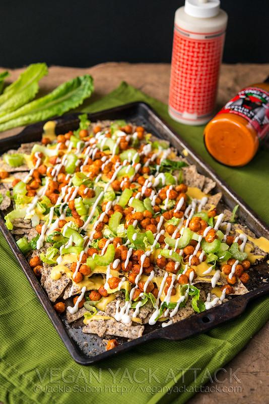 Take a break from your standard nacho plate with these Buffalo Chickpea Nachos! Spicy, creamy, awesome. Gluten-free, dairy-free