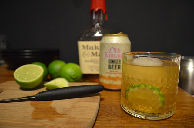 Kentucky Mule bourbon ginger beer lime cocktail with green curry thai dinner