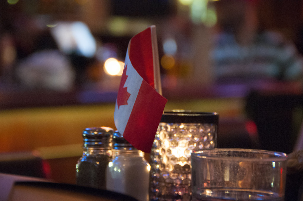 Flag at table at Steamworks Brewing Company, Vancouver BC