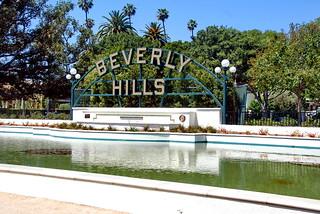 Beverly Hills Monument Sign and Lily Pond
