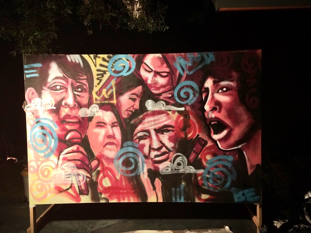 Heroes & legends spray painted live.