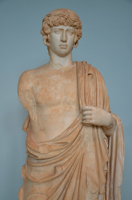 Statue of the deified Antinous represented as Asklepios, 2nd century AD, Archaeological Museum of Eleusis