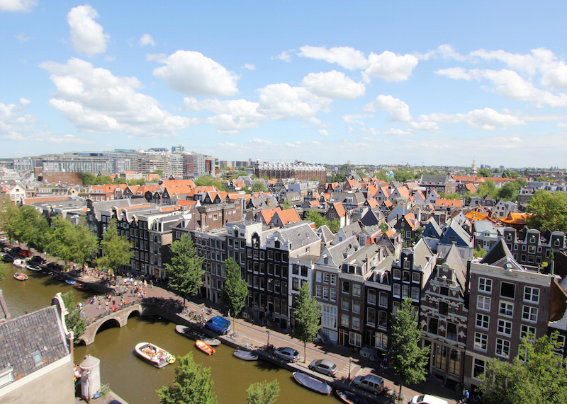 View of Amsterdam historic city center De Wallen from Oude Kerk Amsterdam