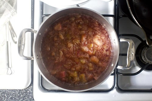 rhubarb, cooking until slumpy and reduced