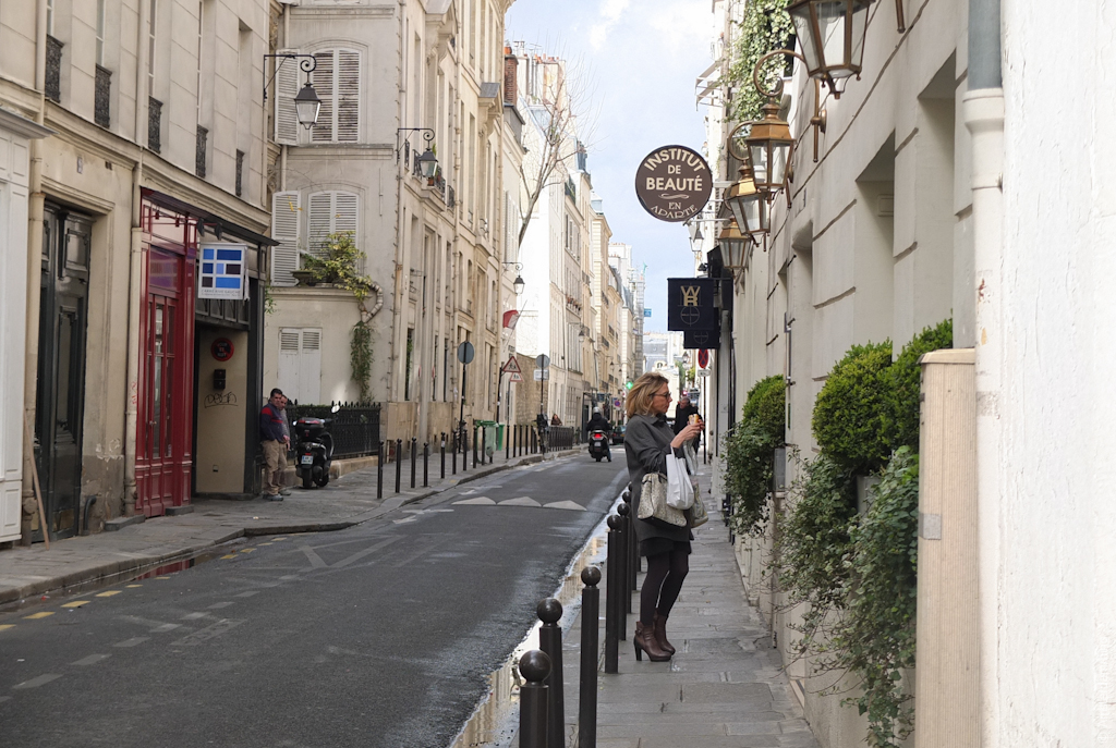 Paris, Woman with Sandwich on Rue Verneuil