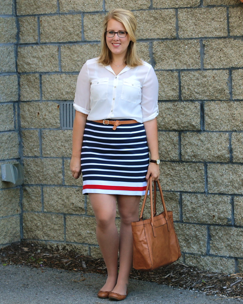 banana republic striped ponte skirt,  banana republic ashley flats, kate spade metro watch