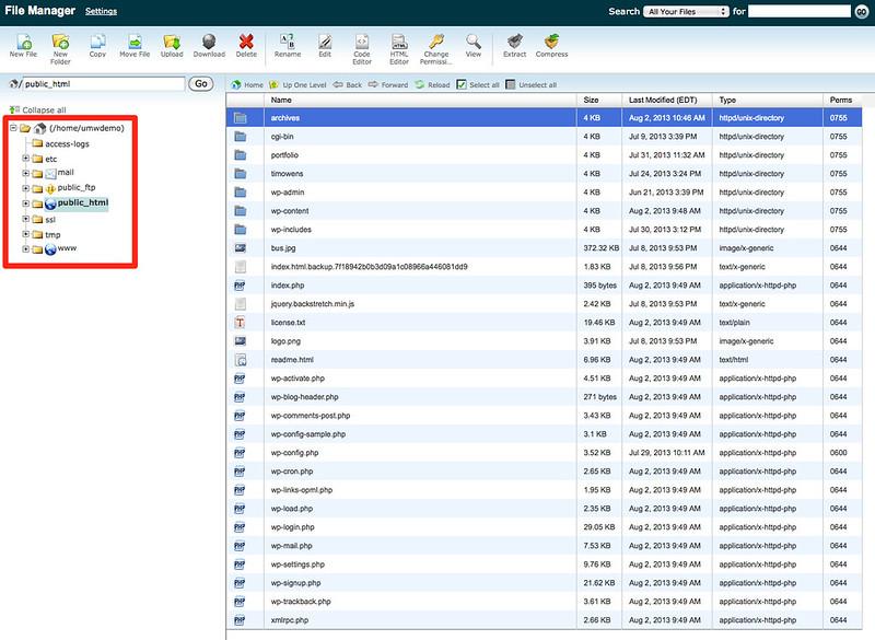 File Manager Navigation