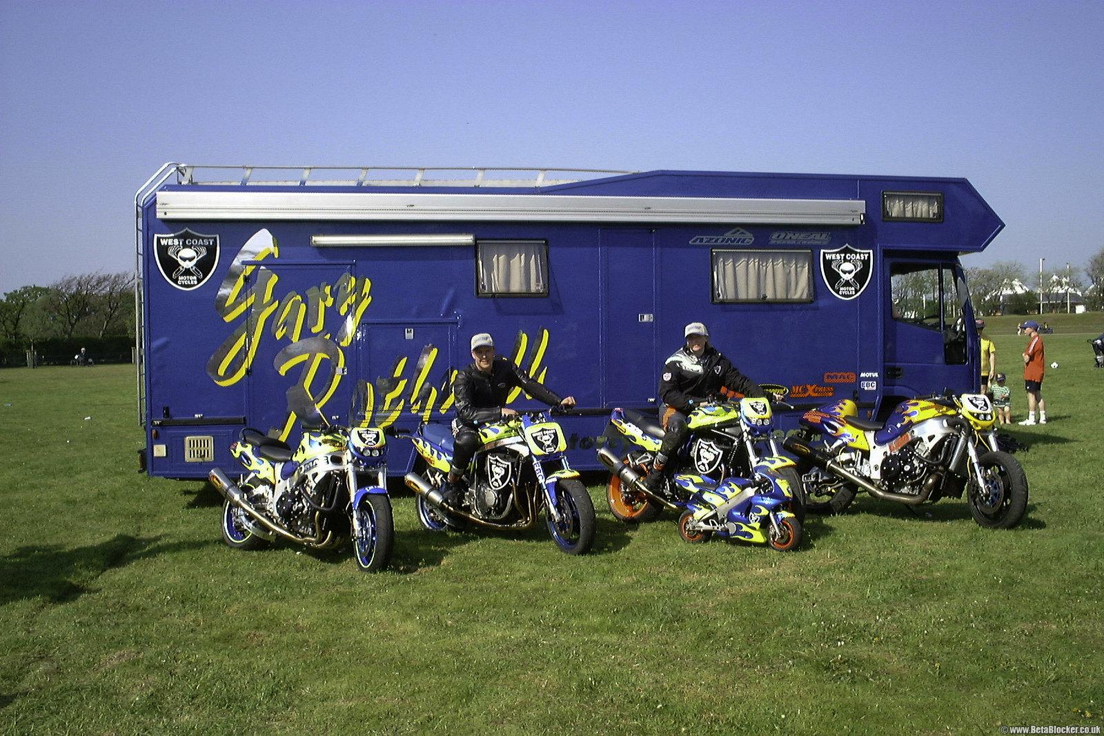 Gary and Joan Rothwell Southport motorcycle line up Suzuki Hayabusa GSX1300R , Suzuki GSXR1100, Suzuki GSF1200, Pocket Bike, Suzuki GSX1300R Turbo