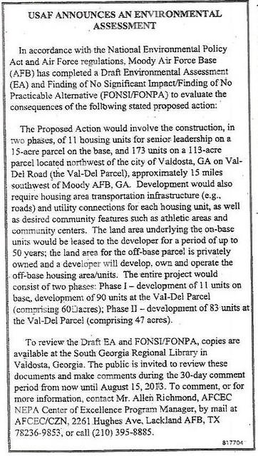 USAF announces an Environmental Assessment (Moody Housing on Val Del Road)
