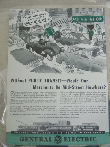 A circa 1940s GE Streetcar ad promoting the throughput efficency of public transit