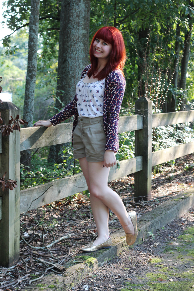 Leopard Cardigan, Khaki Shorts, Sparkly Loafers