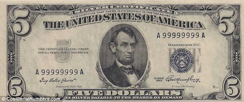 Five dollar bill serial number all 9s