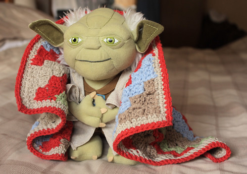 Yoda with his new blanket