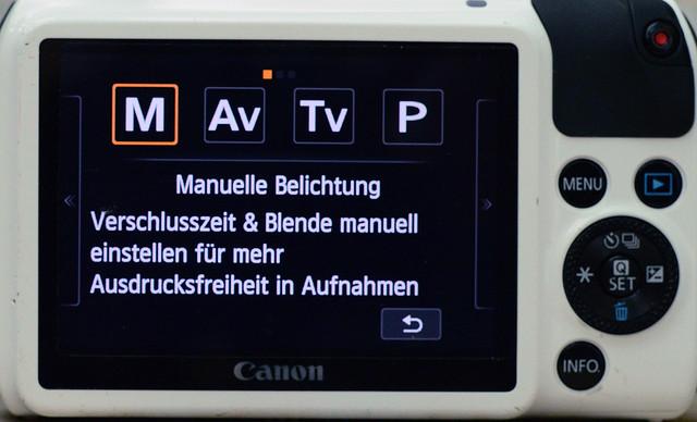Einstellungen Canon EOS M für Lochkameraobjektiv 2/4