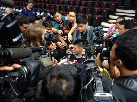 October 7, 2013 - Jeremy Lin is surrounded by media in Manila, The Philippines